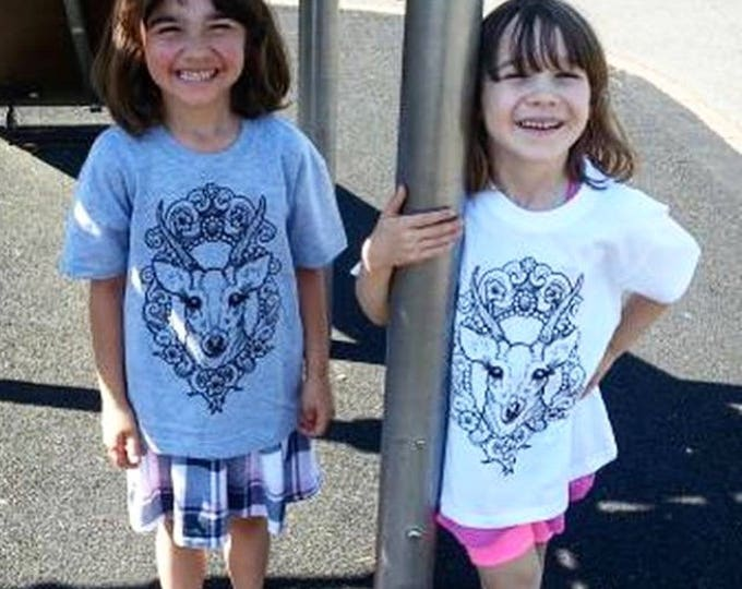 Children's Tshirt, DEER in cameo tattoo inspired design handprinted by SUSYRTATTOO onto 100% cotton kids tshirt