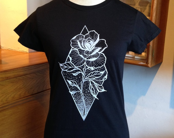 Ladie's tshirt, Rose tattoo design in blackwork tattoo style hand printed onto Gildan Ringspun 100% cotton BLACK tshirt, size: M
