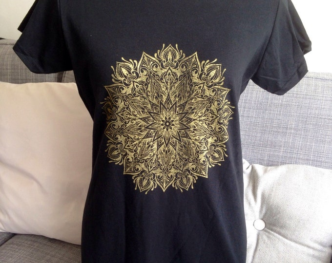Mandala design screenprinted onto black Ladies cotton tshirt, handmade by Susyrtattoo , size: L
