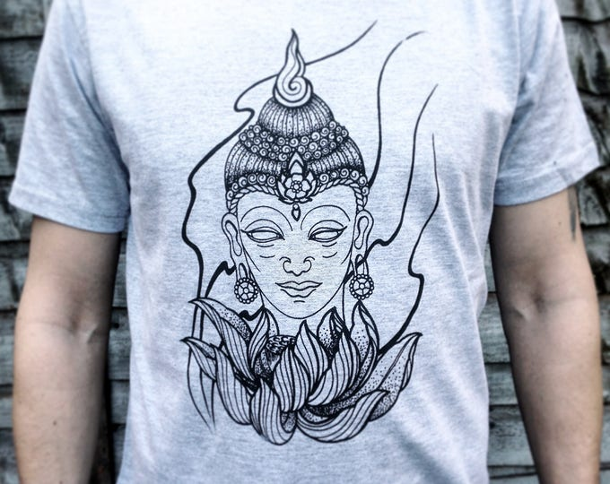 Unisex tshirt, Hand printed by SUSYRTATTOO. Blackwork style BUDDHA tattoo design on grey 100% cotton tshirt, size: S