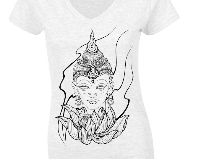 Ladie's tshirt, Hand printed by SUSYRTATTOO. Blackwork style BUDDHA tattoo design on 100% cotton V-neck tshirt, Colour & Size: Various