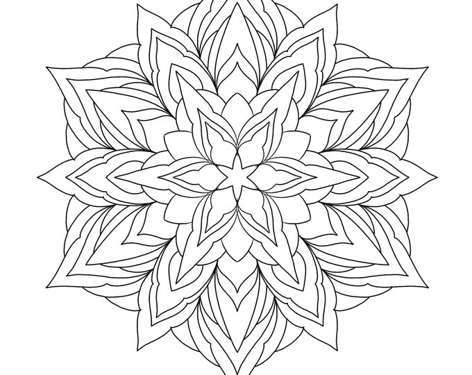 Line drawing of a mandala for colouring 004, digital file, A4 size