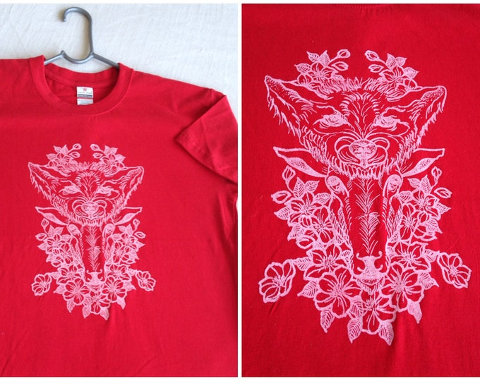 Hand printed by SUSYRTATTOO. One of a kind WOLF and SHEEP tattoo design on Premium 100%cotton Red tshirt, Age 9/11YRS