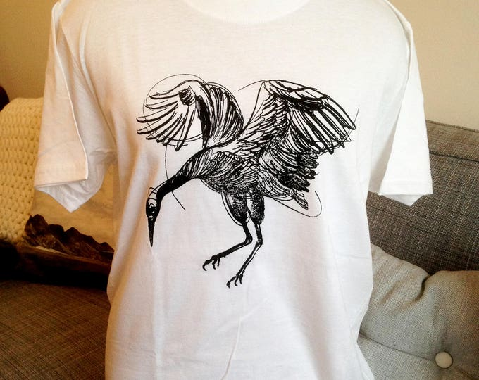 Unisex tshirt, Handprinted by SUSYRTATTOO,  Dancing crane tattoo design on 100% cotton WHITE Tshirt, Size: S L M XL 2XL