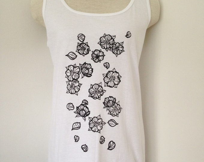 Falling cherry blossoms, tattoo inspired screenprinted ladie's tank top. Handmade, size: XL