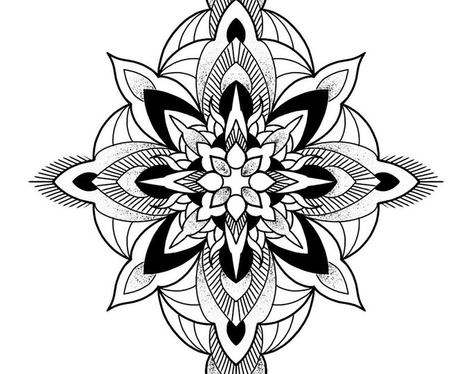 Line drawing of a mandala for colouring 002, digital file, A4 size