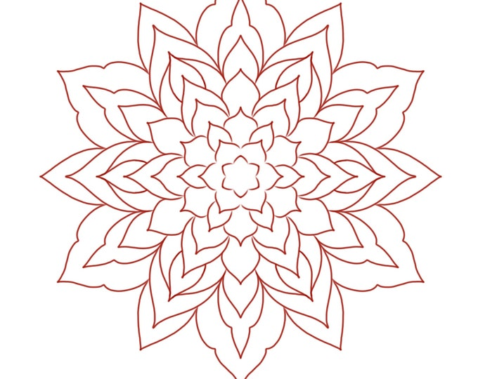 Line drawing of a mandala for colouring 006, digital file, A4 size
