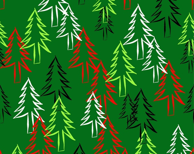 CHRISTMAS tree forest - digital paper, instant download, A4 size page, JPG file x 1, hand drawn
