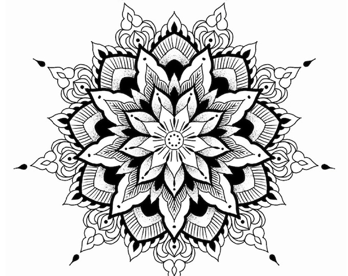 Line drawing of a mandala for colouring 001, digital file, A4 size