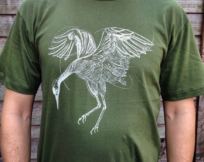 Unisex tshirt, Hand printed by SUSYRTATTOO. One of a kind dancing crane tattoo design on bottle green 100% cotton tshirt, Size: XL
