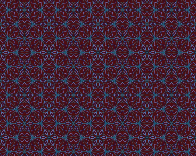GEOMETRIC FLORAL seamless pattern - digital paper, instant download, A4 size, JPG file x 1, digital drawing, blue and burgundy colours