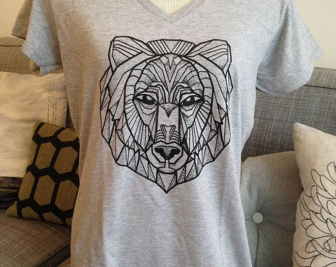 Ladie's tshirt, BEAR tattoo design in blackwork tattoo style hand printed onto softstyle V-neck 100% cotton SPORTS GREY tshirt, size L