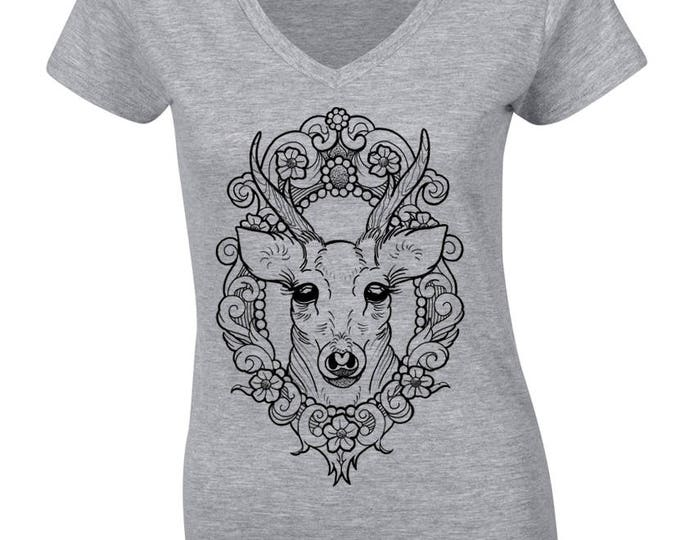 Ladie's tshirt, Hand printed by SUSYRTATTOO, DEER in cameo tattoo design, 100% cotton softstyle V-NECK women's tshirt, Various colour/size