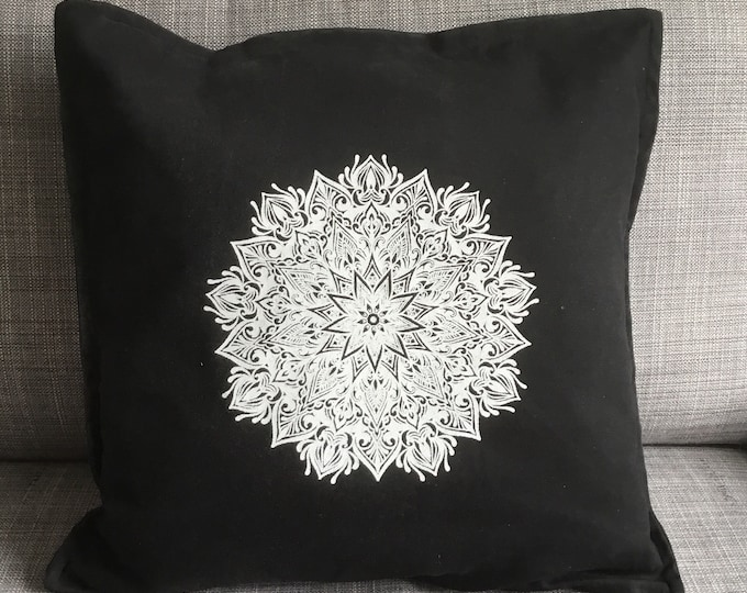 Mandala design hand screen printed onto 50cm x 50cm black cotton cushion cover.