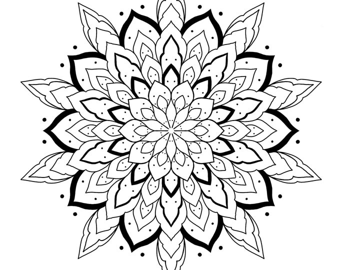 Line drawing of a mandala for colouring 003, digital file, A4 size