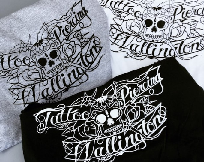 Unisex T-shirt, hand screen printed, black, white, grey, skull, roses, script, Wallington Tattoo & Piercing, size: S, M, L, XL