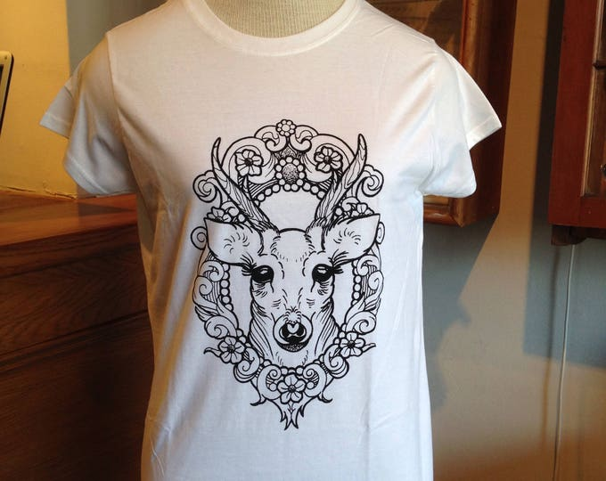Ladie's tshirt, Hand printed by SUSYRTATTOO. One of a kind DEER in cameo tattoo design, 100% cotton softstyle tshirt, white, size: L
