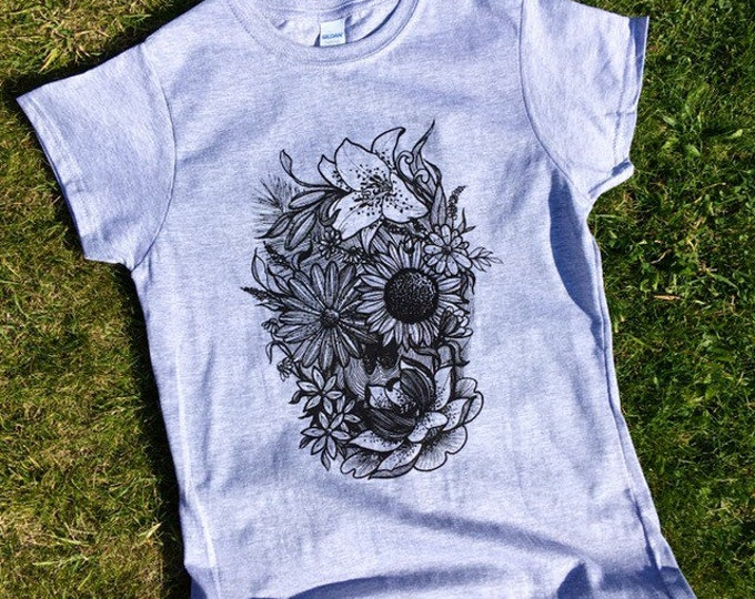 Ladie's tshirt, Flower Skull design in contemporary blackwork tattoo style hand printed onto softstyle 100% cotton SPORTS GREY tshirt
