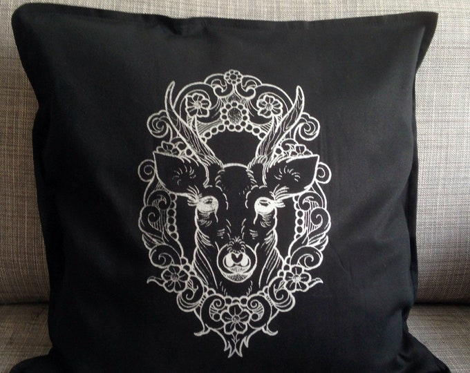 Stag, deer in cameo tattoo inspired screen printed design by Susyrtattoo. Hand printed, black, 50cm x 50cm, silver ink