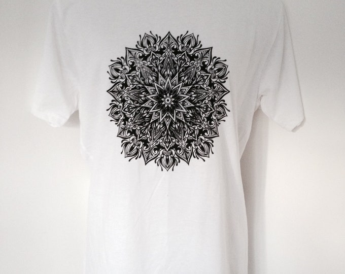 Mandala design screenprinted onto white unisex cotton tshirt, handmade by Susyrtattoo , size: M