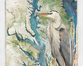 Chesapeake Bay 24 X 36 Watercolor Map Fine Art Paper Print