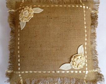 Burlap Pillow Shams   Custom Sizes   Decorative Pillows    Throw Pillows Covers    Farmhouse  Frayed Edge Pillows , Outdoor Pillows