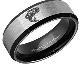 Fisherman on Lake Sport Fishing Boat Tungsten Wedding Band Ring FREE Inside Band Engraving 4mm to 12mm Widths