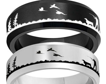 Mens Hunting Scene Flat Top Tungsten Ring Mens Engagement Engraved Ring 8mm Pheasant Hunting Silhouette Tungsten Wedding Band Ring