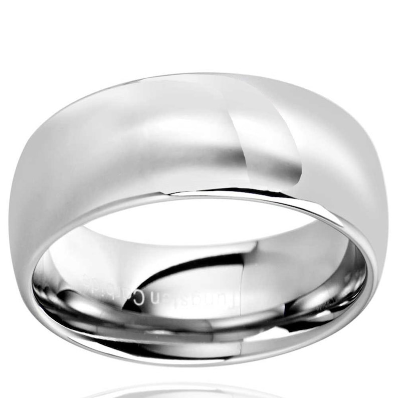 Wedding Ring Mens Engagement Band Polish Tungsten Band 10mm Dome Tungsten Wedding Band Anniversary Ring Promise Ring Personalized Ring