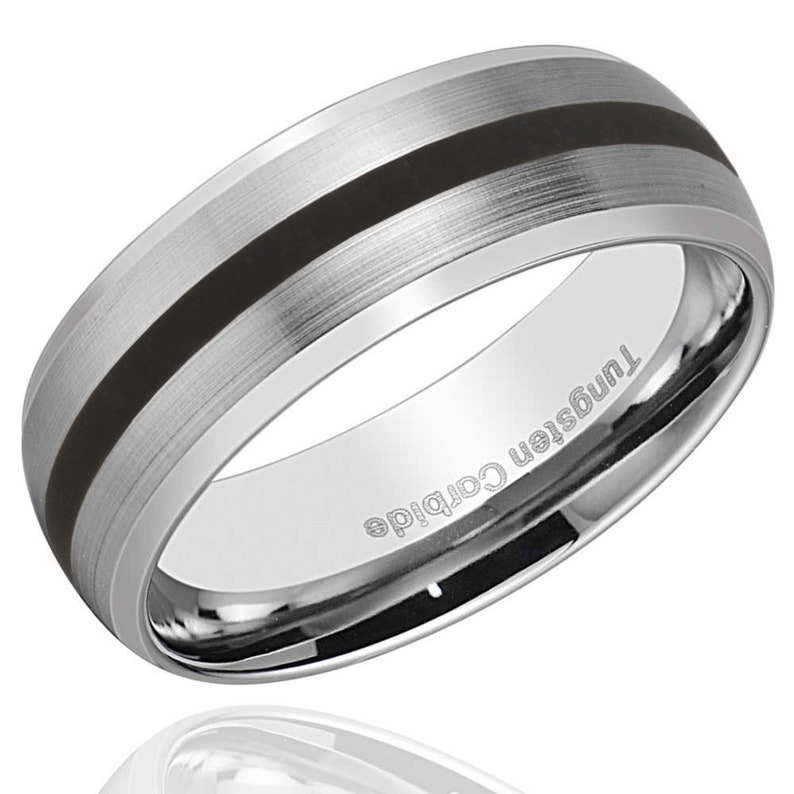 Wedding Beautiful Two Toned High-Polish Tungsten Ring Band Engravable Fashion 8mm Domed