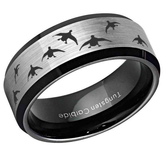 8mm Tungsten Carbide Brushed Dome Turkey Hunting Band Ring