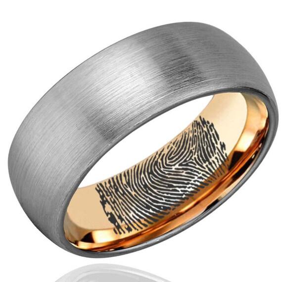 Inner Fingerprint Ring Dome Rose Gold Tungsten Ring Mens Etsy