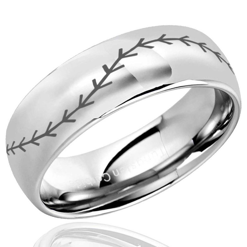 Baseball Design Tungsten Ring Personalized Ring 8MM Classic Dome Men/'s Tungsten Mens Wedding Band Custom Engraving Ring