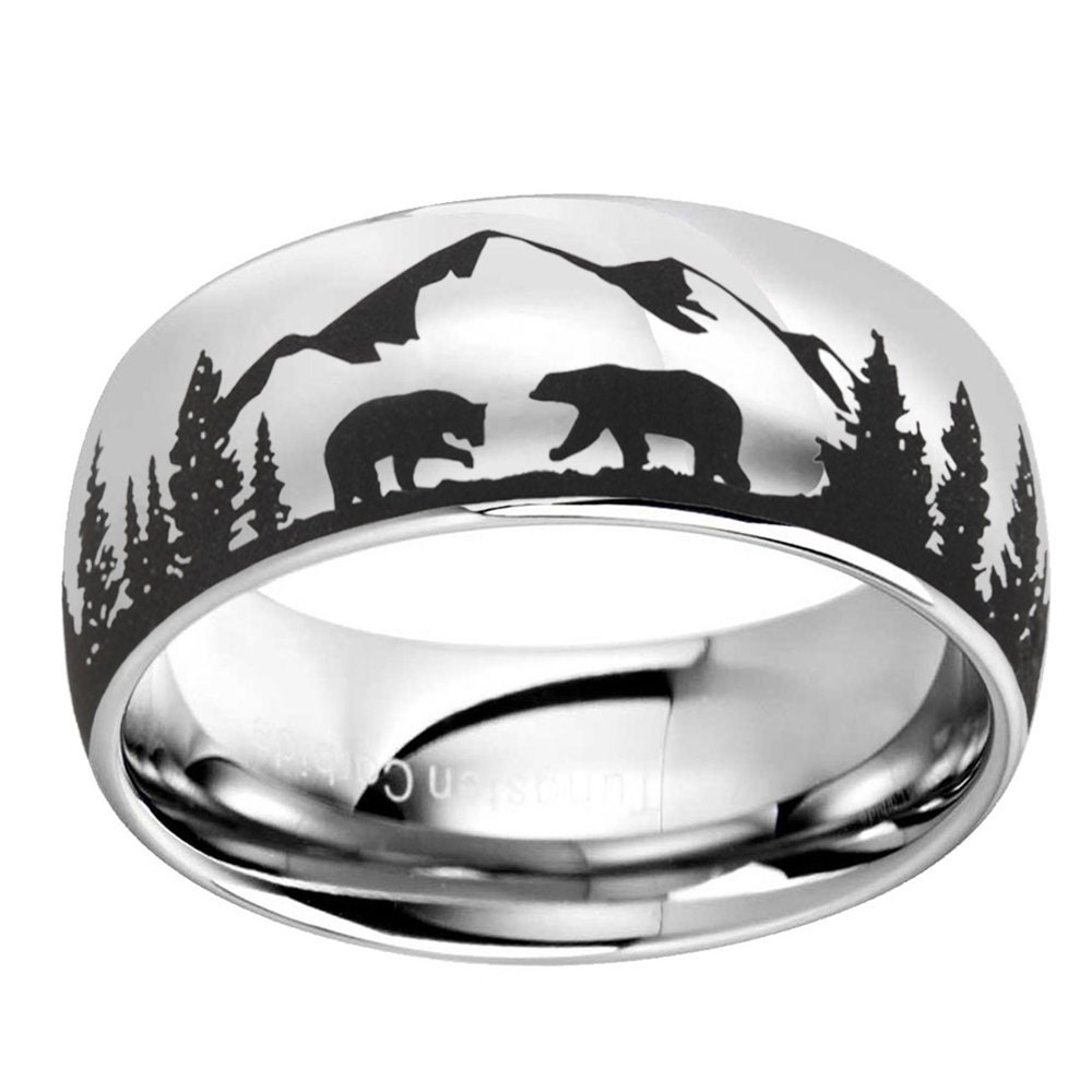 Two Bears Tungsten Wedding Band Mens, Mirror Dome Tungsten Ring, Mountains Forest Landscape Ring, Personalized Engraved Men's Ring, 6,8,10mm