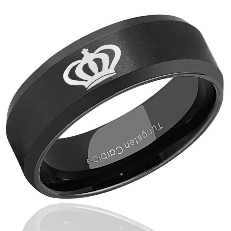 Beveled Edges Tungsten Ring Men Mens Engagement Ring Personalized Ring Promise Ring for Him 8mm King Ring Black Tungsten Wedding Band