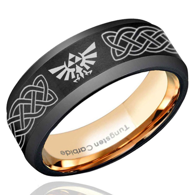 Celtic Zelda Brushed Black Tungsten Ring Beveled Edges Rose Gold Tungsten Wedding Band Men Men/'s Engagement Ring Free Engraving