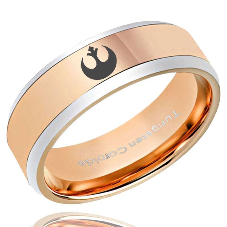 8mm Tungsten Rose Gold Beveled Star Wars Rebel Alliance Promise Ring