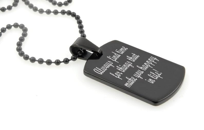 c82550450f6 Texte personnalisé gravé Dog Tag en carbure de tungstène noir