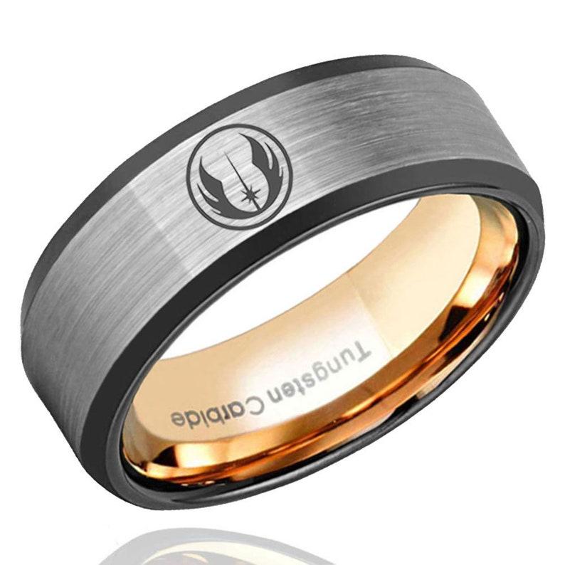 Anniversary Ring Mens Ring Star Wars Rebel Alliance Tungsten Wedding Band Men 8mm Black Beveled Edges Mens Rose Gold Tungsten Ring