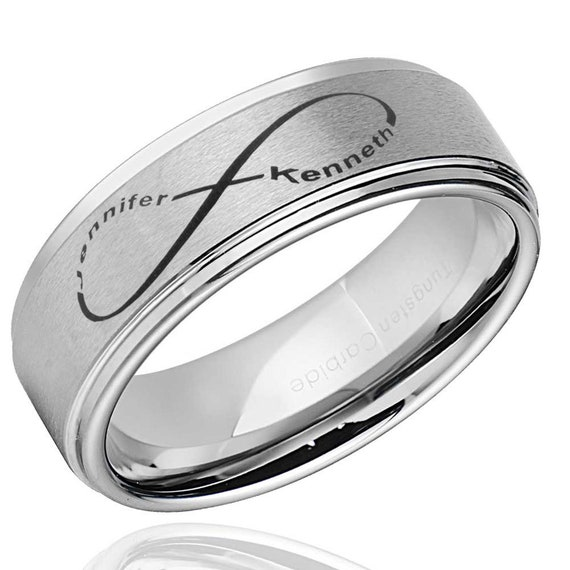 FREE SHIPPING FREE Custom Engraving 8mm Black Tungsten Band with Step Edge Jack /& Sally Design Rings 8mm Black Tungsten Wedding Band