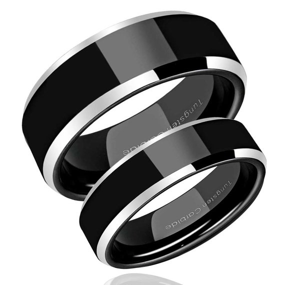 His Hers Tungsten Wedding Band Set 2 Tone Black Tungsten Etsy