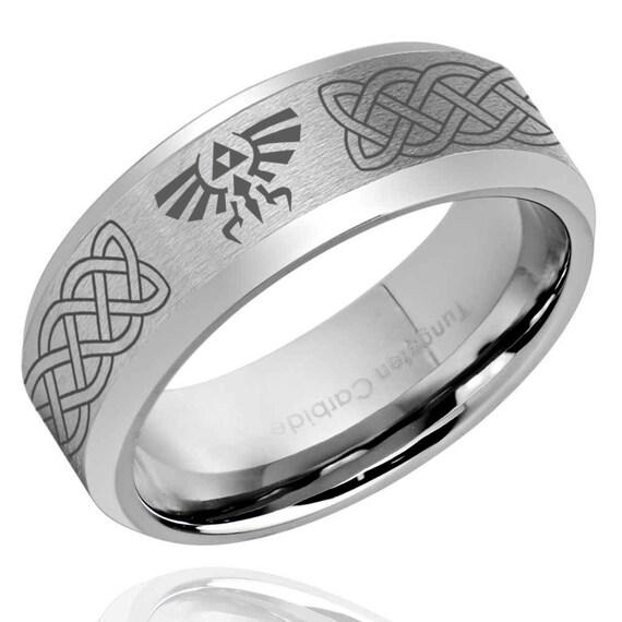 c4241413018 Tungstène celtique de Zelda Alliance homme bague argent
