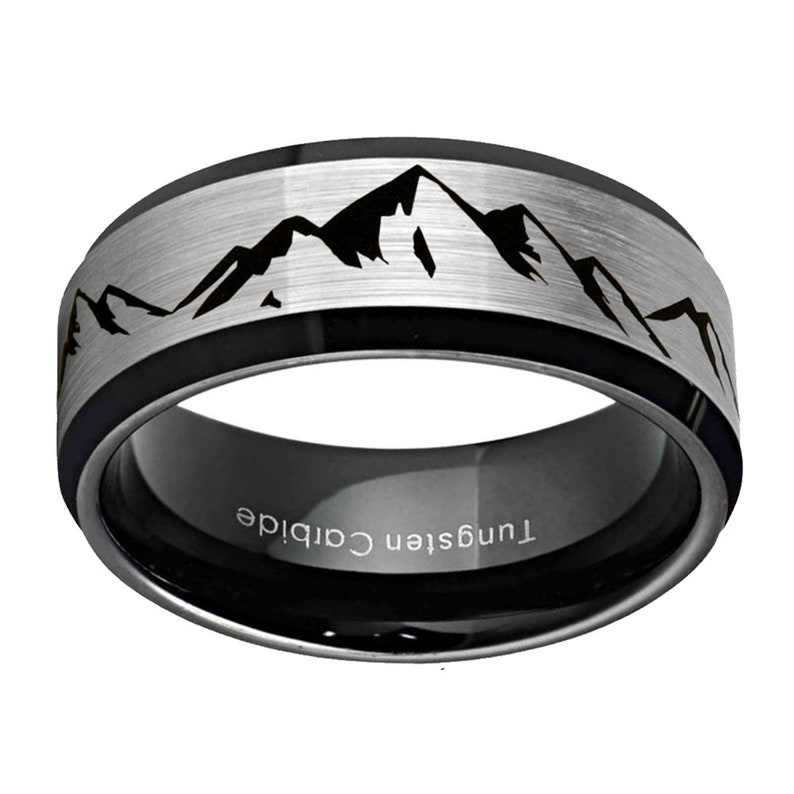 ff968f9e9a Mountain Ring Tungsten Mens Wedding Band Beveled Edges Black | Etsy