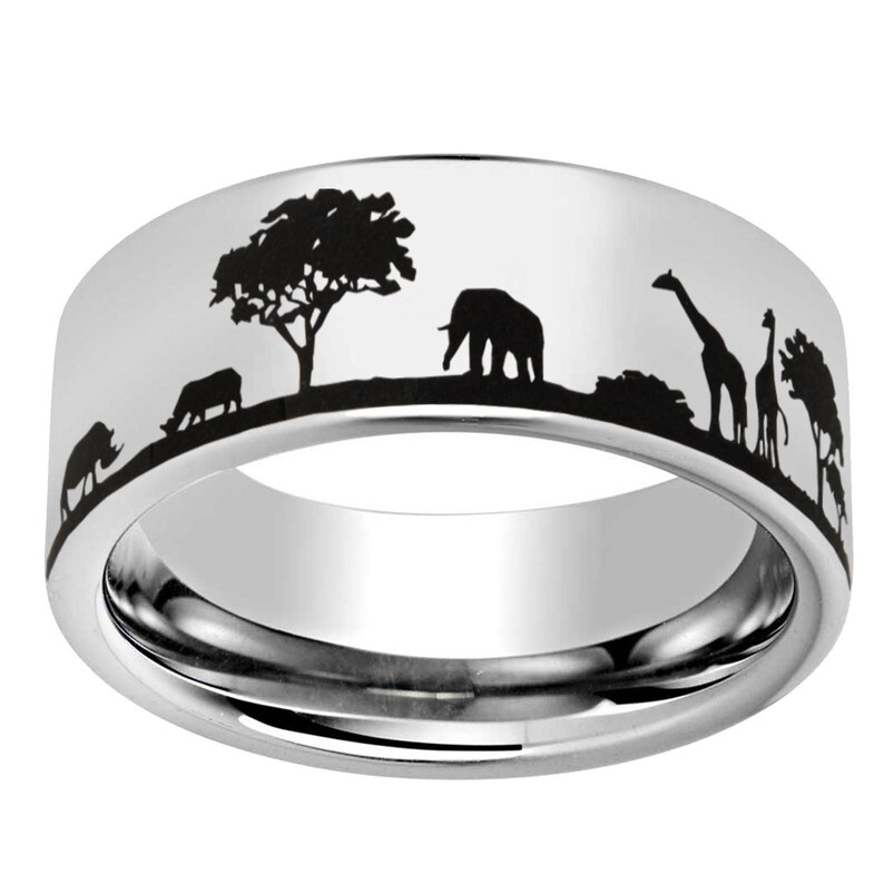 Mens Custom Engraved Ring Forest Landscape Tungsten Wedding Band Promise Ring for Him 8mm Pipe Cut Tree Outdoor Design Tungsten Ring
