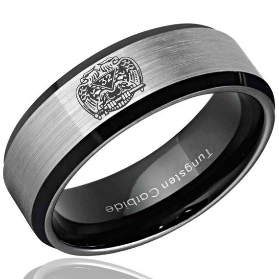 Masonic 32nd Degree Design Ring Tungsten Wedding Band Mens Etsy