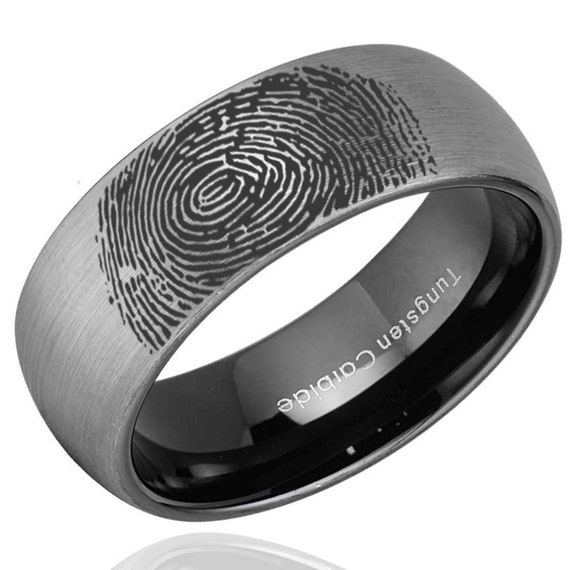Mens Wedding Bands Tungsten.Personalized Fingerprint Ring Tungsten Mens Wedding Band Tungsten Carbide Engraved Wedding Band Dome Finger Print Band