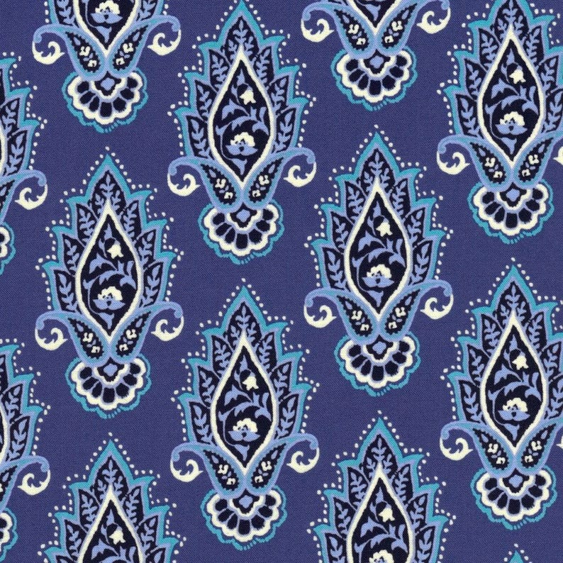 Indian Summer Lotus Flower On Blue Cotton Fabric By Michael Etsy