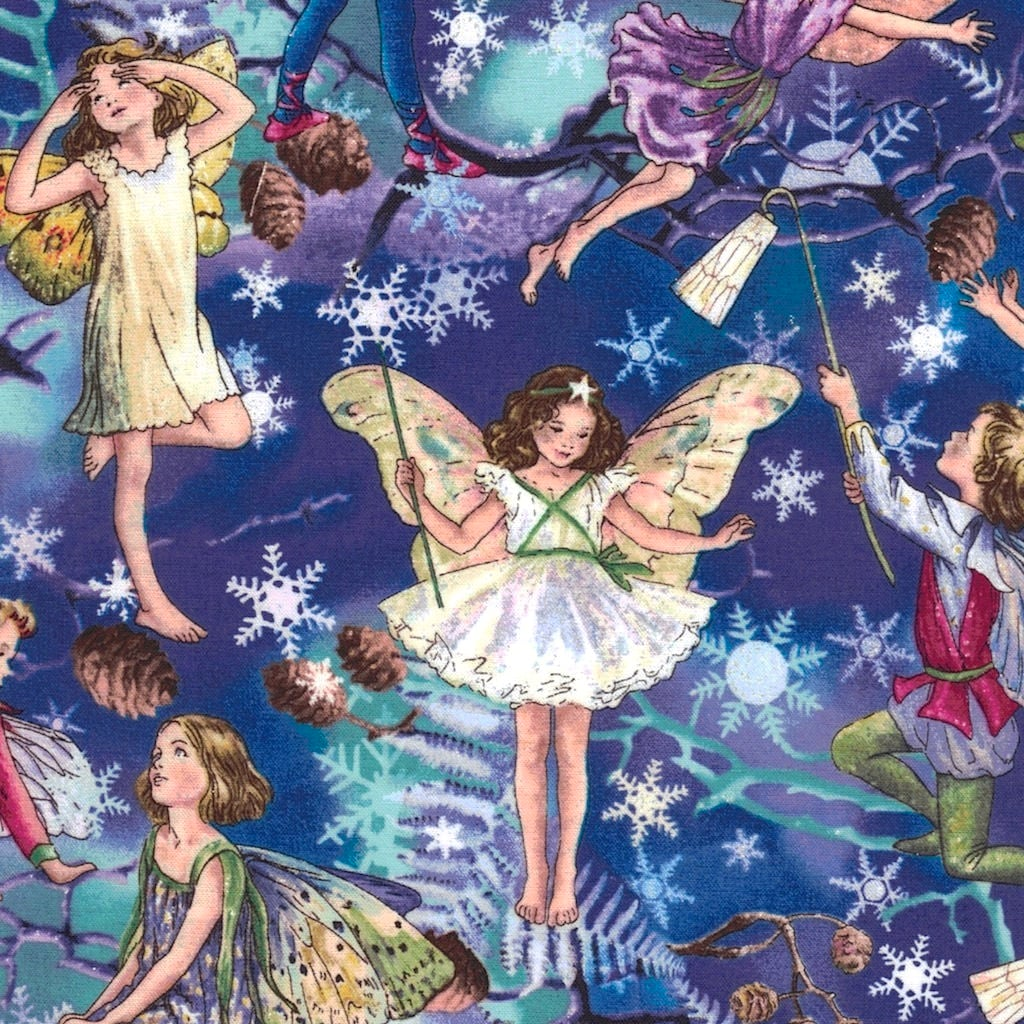 Christmas Fairy Hollywood Pixie Characters on White /& Red Cotton Fabric FQ