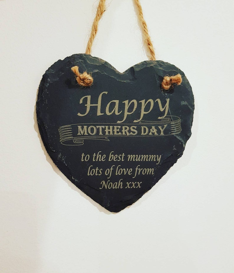 Personalised Slate heart complete with hanging rope Plaques & Signs