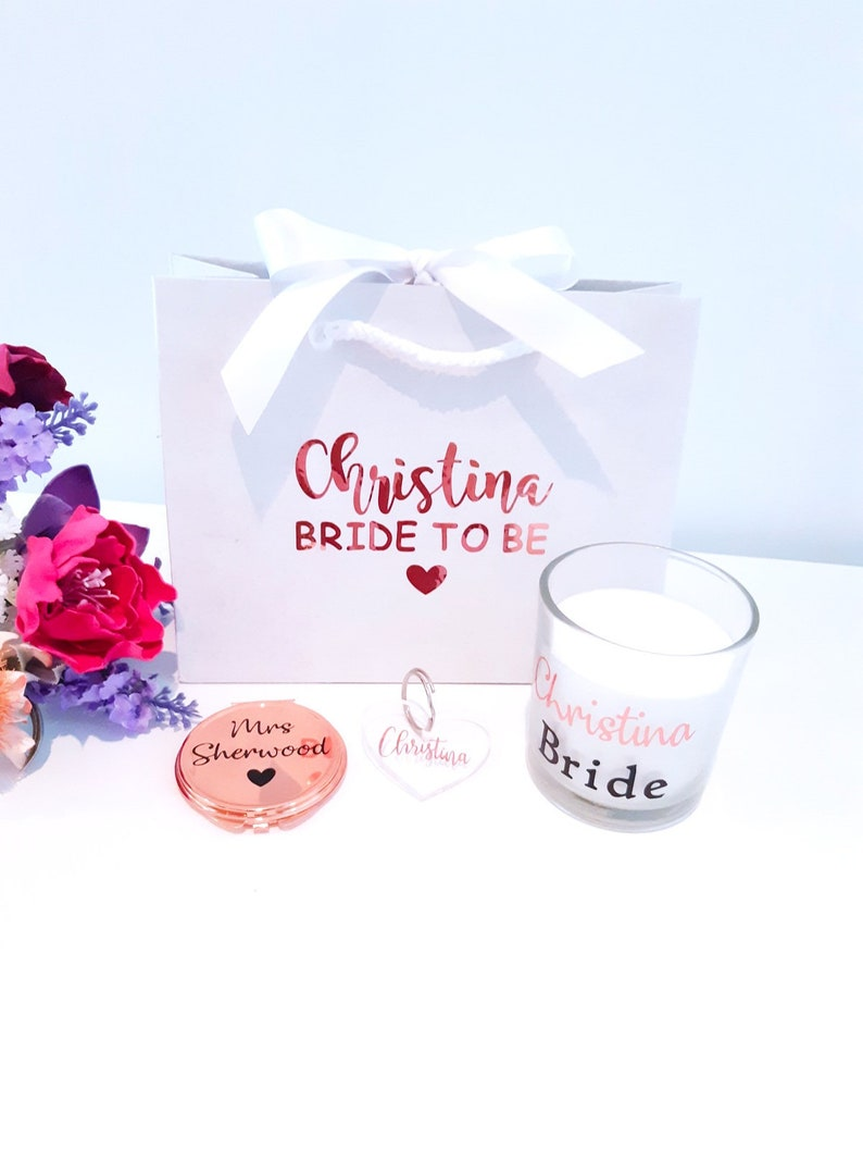 bride to be bag,gift set compact mirror hen party gift bride to be Bride to be gift personalised candle heart keyring wife to be gift